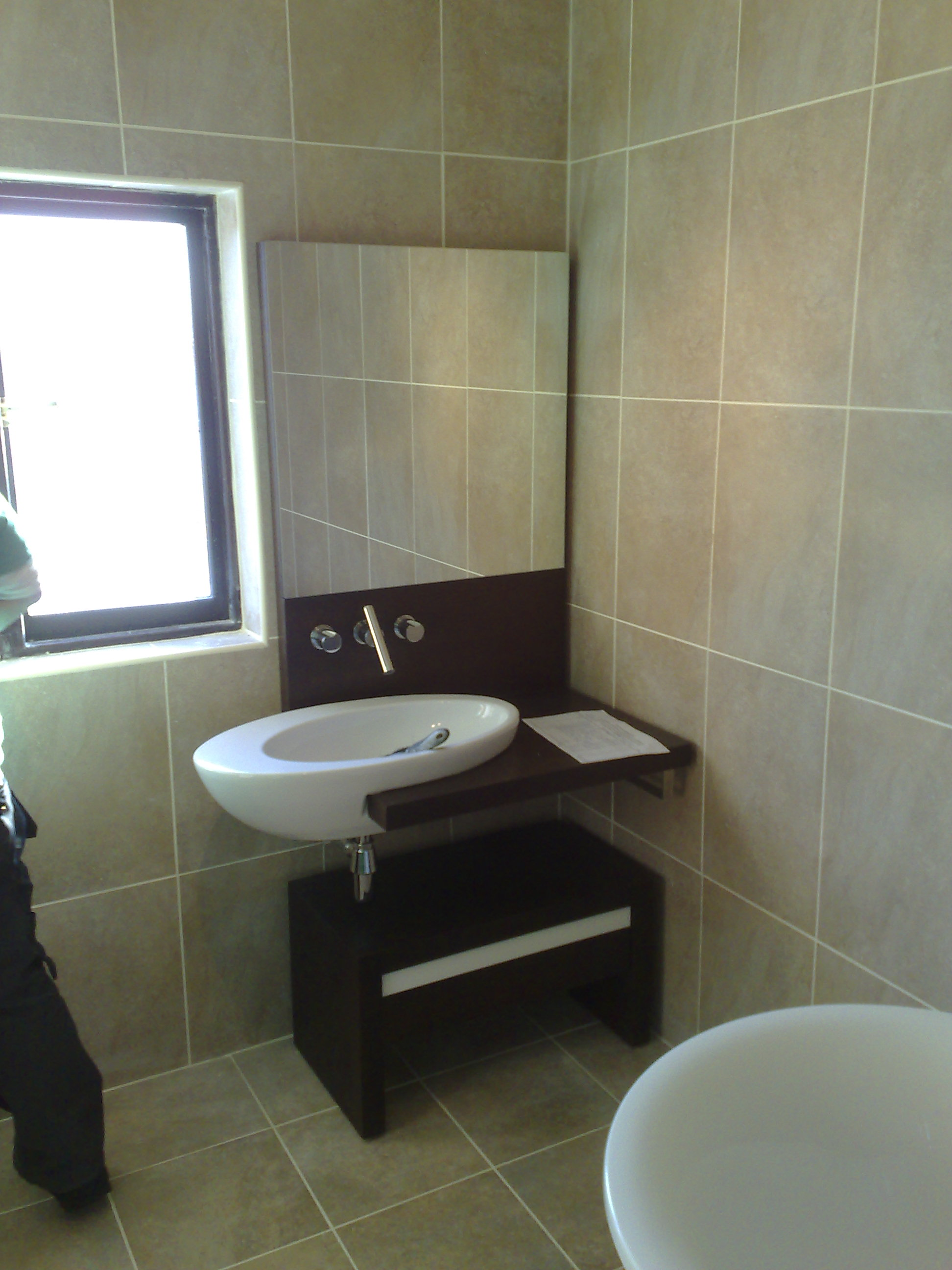 new bathroom suite with designer basin uni